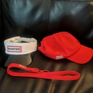 Hunter visor, ball cap, and lanyard.